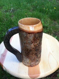 Wooden beer stein, wooden mug, birch branch beer mug, sca tankard, medieval mug, rustic beer mug by SilverOakFurniture on Etsy