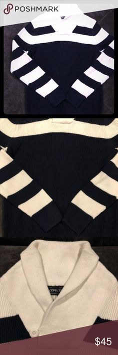 EXPRESS MEN'S NAVY AND WHITE SWEATER Only worn a few times, in good condition! 100% Cotton Express Sweaters