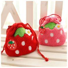 Plush Pink Red Strawberry Drawstring Storage Bag Cosmetic Makeup Bag Pen Case | eBay