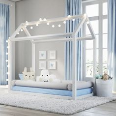 Tudo que você precisa para montar um quarto de bebê perfeito. Todas as cores, móveis, berço, estante, armário, brinquedos. Uma decoração para seu quarto de bebê aconchegante para seu filho.