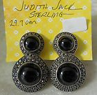 STERLING SILVER MARCASITE AND ONYX EARRINGS SIGNED JUDITH JACK - Earrings., Jack, Judith, Marcasite, onyx, signed, silver, Sterling - http://designerjewelrygalleria.com/judith-jack/judith-jack-earrings/sterling-silver-marcasite-and-onyx-earrings-signed-judith-jack-2/