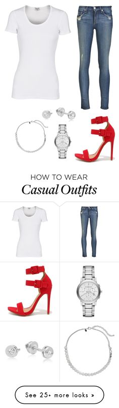"""""""Red heels - Casual"""" by brittjade on Polyvore featuring rag & bone, Splendid, Burberry, Chico's, Shoe Republic LA, women's clothing, women, female, woman and misses"""