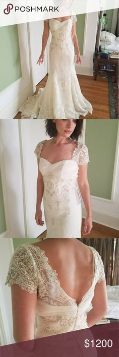 Wedding Dress Lace and tulle mermaid dress with a semi-cathedral train, sweetheart tulle twisted neckline/bust area, lace capped sleeves, and embroidered beading throughout. New and unaltered. La Sposa Dresses Wedding