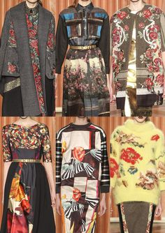 Milan Fashion Week-Antonio Marras A/W 2013/14-Garden Bloom Prints – Metallic and Gold Detailing – Folk Inspired Fabric Inserts – Appliqué and Patchwork Fabric Areas – Layered Re-workings – Bauhaus Art Inspired Prints – Plays in Scale – New Placement Workings