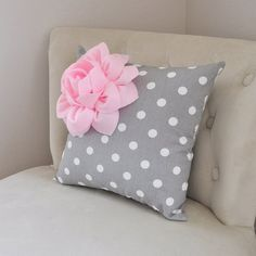 Decorative Pillow Light Pink Corner Dahlia on Gray and White Polka Dot Pillow Home Decor Nursery Decor #accent_pillow #dahlia_pillow #decorative_pillow