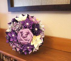 Custom Wedding Kusudama Origami Paper Flower Package - Bouquets, Bridesmaid Bouquet, Purple, ivory Silver