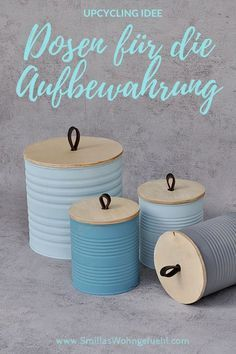DIY cans upcycling - beautiful and sustainable - Smilla& living feeling . - DIY cans upcycling – beautiful and sustainable – Smilla& feeling of wellbeing - Upcycled Home Decor, Upcycled Crafts, Diy Home Decor Projects, Diy Projects To Try, Decor Ideas, Pot Mason Diy, Mason Jar Crafts, Diy Hanging Shelves, Diy Wall Shelves