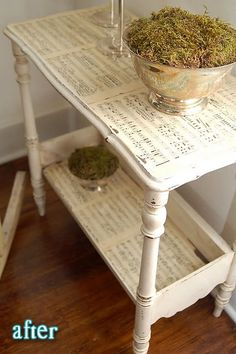 Sheet music table! Love this! I want to do this with old hymns!