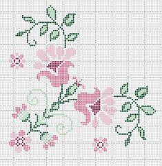 Kanaviçe çiçek köşe