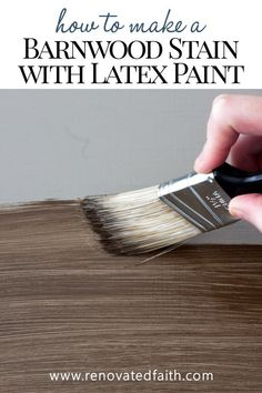 How to Apply Paint that Looks Like Stain (Barnwood Stain with Latex!) Apply Paint that Looks like St Painting Trim, Painting On Wood, Painting Over Stained Wood, Distressed Painting, Stain Over Paint, Stripping Paint From Wood, Faux Wood Paint, Faux Wood Wall, Painted Wood Floors