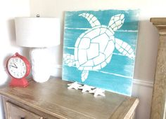 Nautical Handpainted Sea Turtle Sign by MeetMeByeTheSea on Etsy, $75.00
