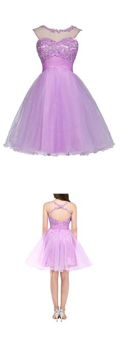 New Orchid Sleeveless Open Back Tulle Prom Dress Homecoming Dresses With Appliques Beaded Beaded Dresses, Hoco Dresses, Tulle Prom Dress, Prom Dresses Online, Cheap Prom Dresses, Dresses For Sale, Girls Dresses, Inexpensive Homecoming Dresses, Affordable Bridesmaid Dresses