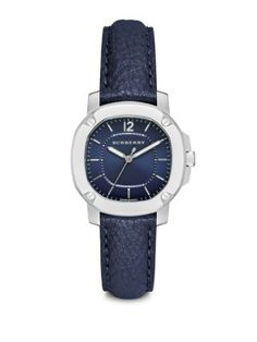 BURBERRY Britain Stainless Steel & Leather Strap Watch/Blue. #burberry #watch/blue