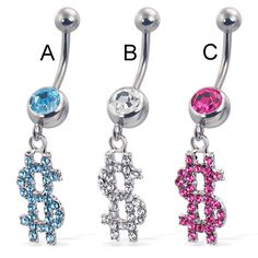 Jeweled dollar sign belly button ring