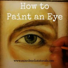 FREE **VIDEO** Tutorial on how to paint a realistic eye using acrylic paints. I'm experimenting with acrylic paints these days...