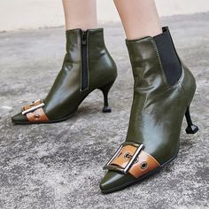 Fur Rubber Women's Buckle Zipper Green Black Fall Winter Casual PU Stiletto Heel 2 inch Boots Ankle Boots Heels 34 35 36 37 38 39 40 41 42 43 Shoes color:Black,Green Chunky Heel Pumps, Low Heel Sandals, Heeled Boots, Ankle Boots, Black Shoes, Stiletto Heels, Fashion Online, Women's Fashion, Cyber Monday