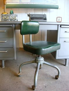 Vintage Industrial Office Chair by Emeco- i think we have a desk like this in the shed