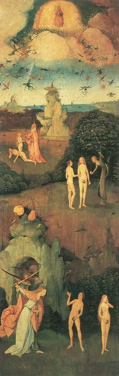 Bosch, Hieronymus: Heuwagen,Triptychon, linker Flügel: Das irdische Paradies