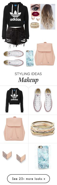 """""""Untitled #65"""" by bubblegumprincess831 on Polyvore featuring New Look, FOSSIL, Smashbox, Kendra Scott, Casetify, Converse and Topshop"""