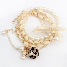 Leopard Pendant Multi-Layered Ribbon Embellished Alloy and Faux Pearl Bracelet For Women