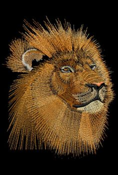 Embroidered African Lion by Phil, just one of the Embird classes that is part of the 240 hours of Embird training provided by Phil Nail String Art, String Crafts, Art Crafts, Arte Linear, String Art Patterns, Thread Art, Pin Art, Jolie Photo, Button Art