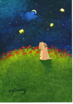 Soft-coated Wheaten Terrier Moon Gazer by Todd Young. In the baby's nursery. Check into Todd Young's Art!!! 10/20