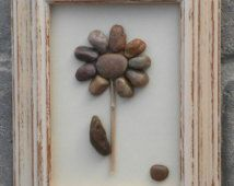 """Pebble Art Flower in nneutral browns in stacked 10x7.5 rustic """"open"""" frame"""