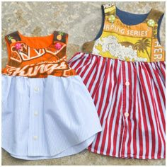 Upcycled Jersey T-shirt Oxford Shirt Baby Dress Tutorial