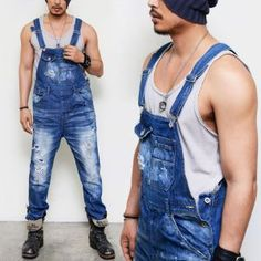 Bottoms :: Jeans :: Relaxed Suspender Carpenter Overall-Jeans 192 - Mens Fashion Clothing For An Attractive Guy Look
