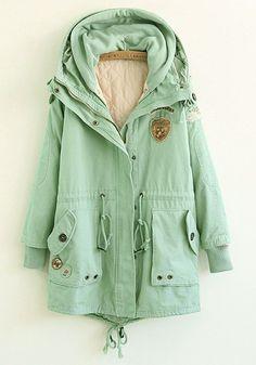 Green Plain Drawstring Cotton Blend Padded Coat...i think i just fell in love