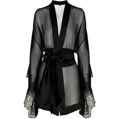 Carine Gilson Frou Frou silk-chiffon kimono ($645) ❤ liked on Polyvore featuring intimates, robes, lingerie, dresses, underwear, tops, kimono dressing gown, long sleeve kimono, kimono robe and dressing gowns