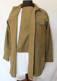 Vintage US Military Wool Shirt with Button Down Flap in Front, Pre World War II…