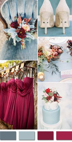 burgundy and dusty blue september fall wedding color palettes 2015