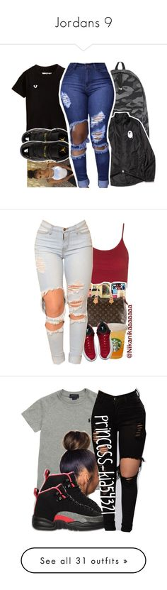 """Jordans 9"" by fingerfckmyswag ❤ liked on Polyvore featuring A BATHING APE, Retrò, Topshop, NIKE, Ralph Lauren, Tommy Hilfiger, MCM, NLY Accessories, tarte and Michael Kors"