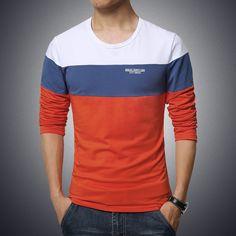 Mens fashion t shirt slim fit long sleeved t-shirt men three colors  patchwork cotton b9b537271d2e