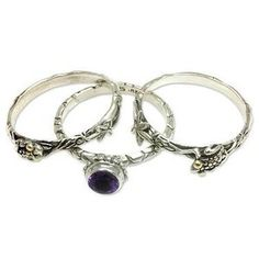 NOVICA Amethyst and Sterling Silver Stacking Rings (set of 3)