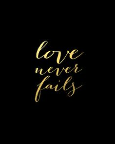 Love Never Fails // Gold Foil Print by stationeryboutique on Etsy