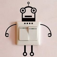 DIY inspiration-Fashion Robot Switch Sticker Living Room Wall Poster