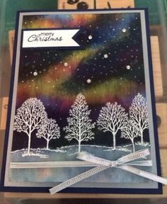 "Stampin"" Up! ... hand crafted card ... winter scene with northern lights ... Lovely as a Tree ... beautiful!"
