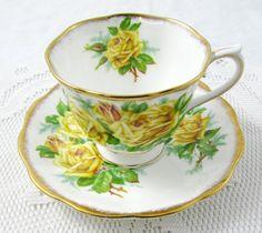 Royal Albert Tea Rose Tea Cup and Saucer, Vintage Bone China, Yellow Roses