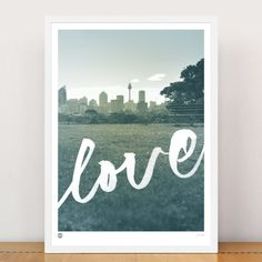 Sydneys iconic skyline featured with a hand drawn freestyle love script, with views from Centennial Park looking out over the city. Two sizes available. Limited edition of 100 only, hand signed and numbered. Engagement Gifts For Him, Engagement Gift Baskets, Personalized Engagement Gifts, Wedding Present Baskets, Traditional Engagement Gifts, Gifts For Engaged Friend, Centennial Park, Teenage Girl Gifts, Limited Edition Prints