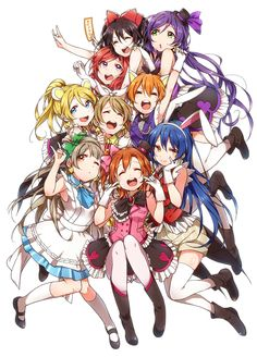 Maki, Nozomi, Honoka, Umi, Rin, Sotori, and Eri By: 火照ちげ Love Live! School Idol Project characters