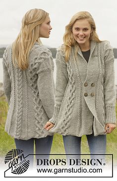 Ravelry: 151-1 Gwendolen - Jacket with cables and shawl collar in Karisma pattern by DROPS design