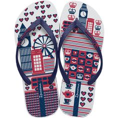 Ipanema Navy Blue, Red And White Flip-flops, England Theme - Unique... ($14) ❤ liked on Polyvore featuring shoes, sandals, flip flops, sapatos, navy, flip flop shoes, navy flip flops, ipanema flip flops, blue sandals and navy shoes