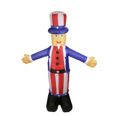 6 Foot Inflatable Lighted Standing Uncle Sam Yard Art Decoration