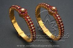 Indian Gold Antique Jewellery Bangle, Antique Jewellery Ruby Bangle, Antique Indian Jewellery Bangles.