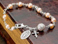 Pavé and Pearls Rosary Bracelet