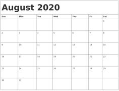 Get Blank August 2020 Calendar, Blank Calendar for August Printable August 2020 Calendar Blank Template in PDF, Word, Excel Template with Holidays Notes. Calendar 2019 Blank, August Calendar, Excel Calendar, 2020 Calendar Template, Calendar Layout, Printable Calendar Template, Free Printable Calendar, Calendar Pages, Monthly Calendars