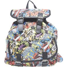 Marvel Printed Backpack ($35) ❤ liked on Polyvore featuring bags, backpacks, accessories, purses, multi colored, print backpacks, flap bag, wet seal bags, wet seal and flap backpack