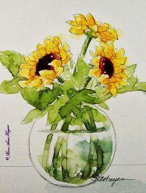 Watercolor Paintings by RoseAnn Hayes: Sunflowers Watercolor Painting